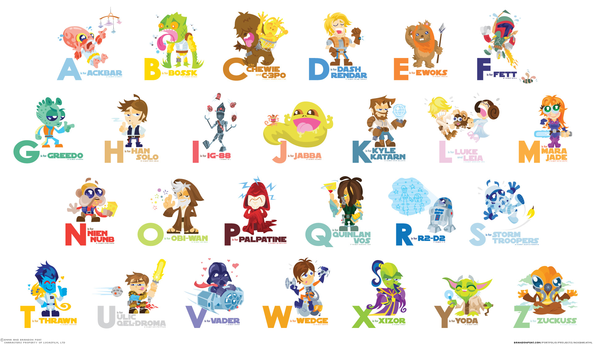 Cartoon Characters A Z : El abecedario recurso educativo tiching